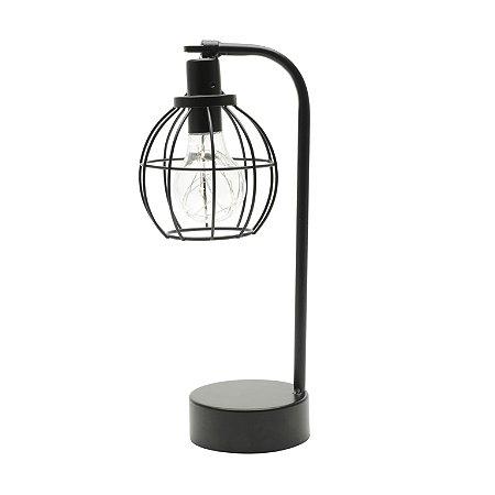 Luminária Decorativa Vintage Aço Led Globe Preta