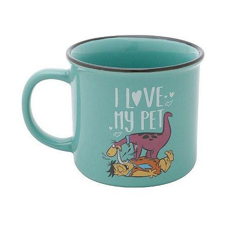 Caneca de Porcelana Flinstones Dino Love My Pet 380ml