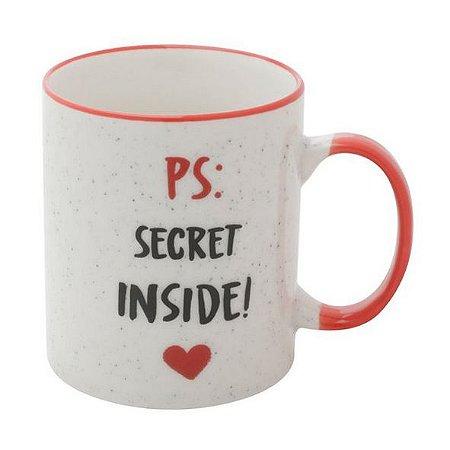 Caneca Porcelana Secret Inside Branca 350ml