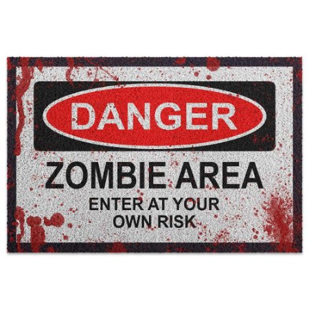 Capacho em Vinil Danger Zombie Area 60x40cm