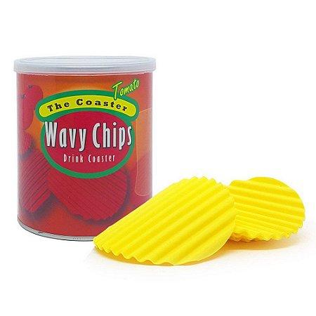 Jogo com 4 Porta Copos em Silicone Wavy Chips Tomato