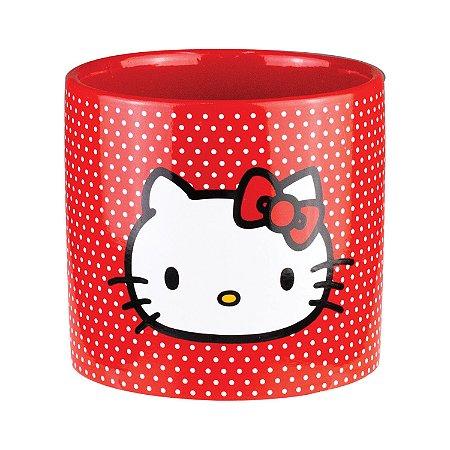 Vaso Cachepot Cerâmica Hello Kitty White Dots Vermelho