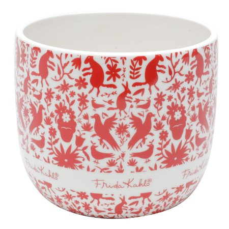 Vaso Cachepot de Cerâmica Frida Kahlo Red Flowers Branco