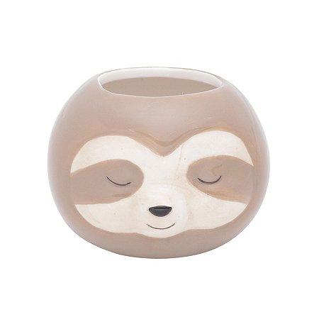 Vaso Cachepot de Cerâmica Floffy Sloth Marrom