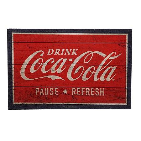 Placa Madeira Coca-Cola Drink in Bottles Vermelha 30x19cm
