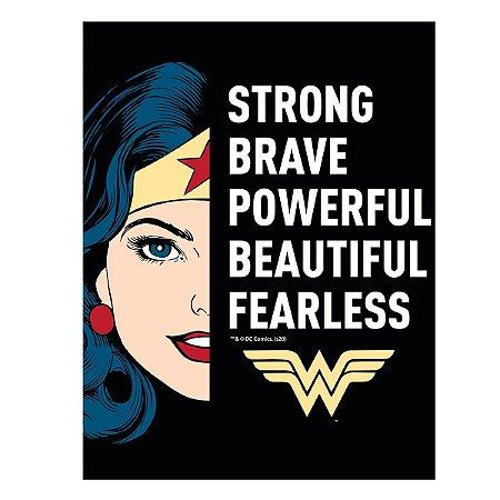 Placa Metal DC Comics Wonder Woman Strong Brave 20x26cm