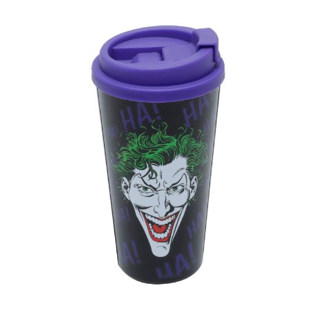 Copo Plástico DC Comics Joker Laughs Preto Roxo 500ml