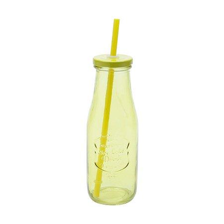 Garrafa de Vidro com Canudo Slim Vivid Colors Amarela 425ml