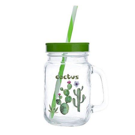 Caneca de Vidro com Canudo Cactus Verde 450ml