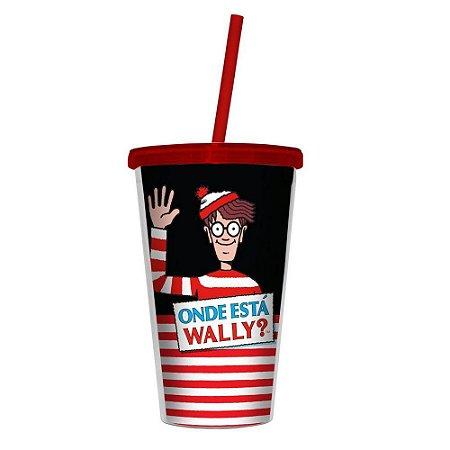 Copo Canudo Plástico Wally Red Stripes 500ml