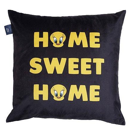 Capa Aveludada Almofada Piu Piu Home Sweet Home Preta 45x45cm