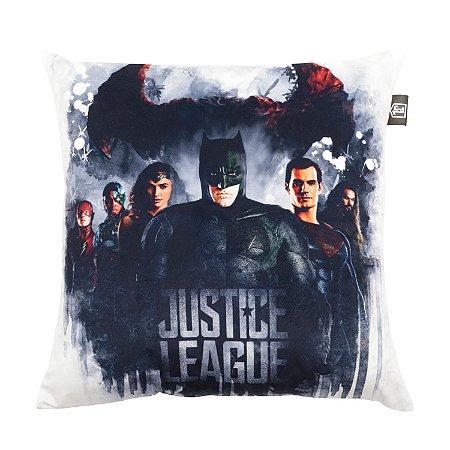 Capa Aveludada Almofada Liga da Justiça Movie Stain Branca 45x45cm