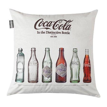 Capa Aveludada Almofada Coca-Cola Clássicas Garrafinhas 45x45cm