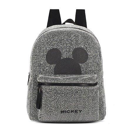 Mochila Feminina Disney Mickey Mouse Brilho Cinza