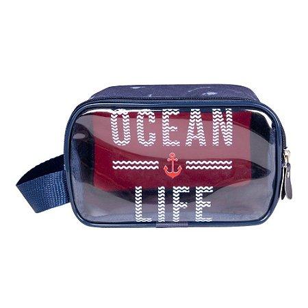 Necessaire Masculina Basic Ocean Life Azul
