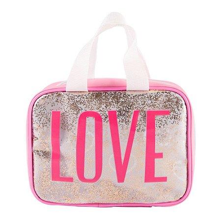 Necessaire Maleta Feminina Glitter Dance Love
