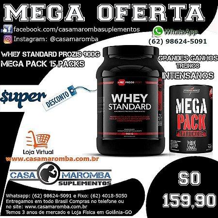Kit Definição e Massa Magra: Whey Standard 900g + Mega Pack de 15 Packs
