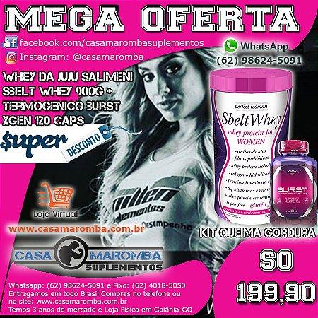 Sbelt Whey Feminino da Juju de 900g New Millen + Termogênico Bust 120 Comprimidos XGen