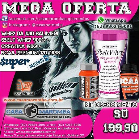 Kit Monstro Crescimento Feminino: Sbelt Whey Feminino da Juju de 900g +  BCAA Premium 120 Tabs + Cre 150g New Millem
