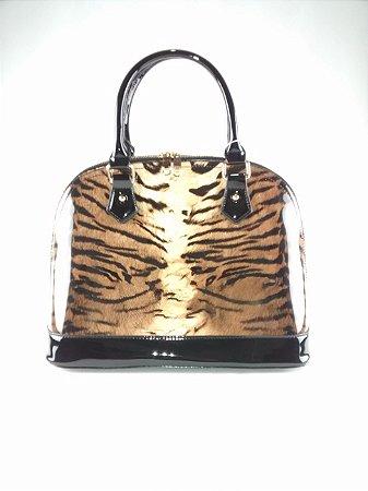 cf962cc47 Bolsa Feminina Importada Verniz Estampa de Tigre Preta Dourada ...