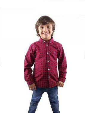Camisa Infantil Xadrez  Manga Longa Vermelho Azul Marinho