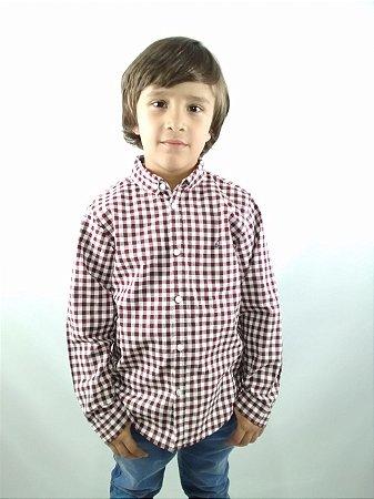 Camisa Infantil Xadrez Branco e Vinho