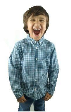 Camisa Infantil Manga Longa Xadrez Azul Marinho e Branco