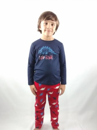 Pijama Infantil Importado Manga Longa Azul Marinho Dino