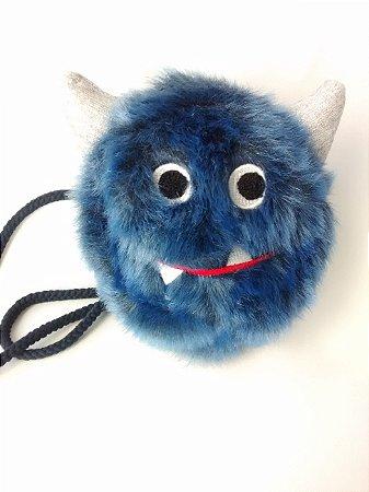 Bolsa Infantil Zara Monstrinho Azul Pelúcia