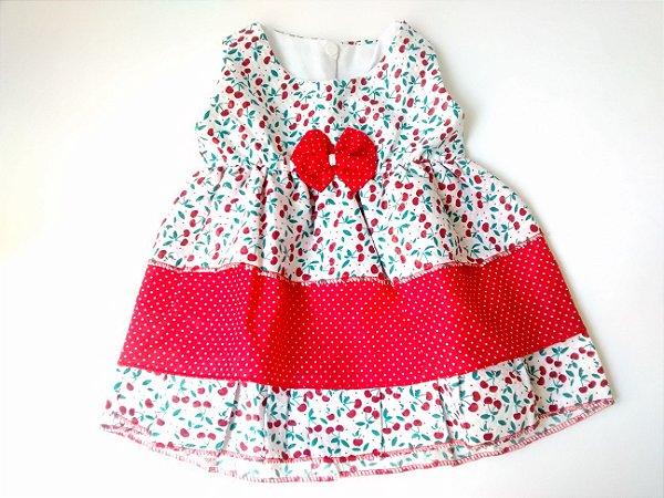 Vestido Bebê Cerejinhas Laço Vermelho Bolinhas Brancas