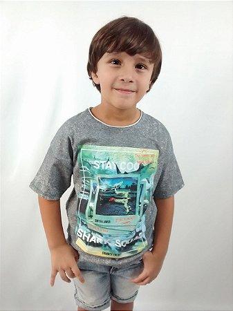 Camiseta Infantil Zara Boys Summer Shark Squad Cinza Mesclada