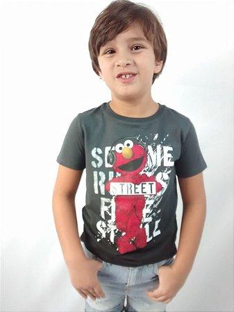 Camiseta Zara Boys Collection Vila Sésamo Street Cinza Esfumada