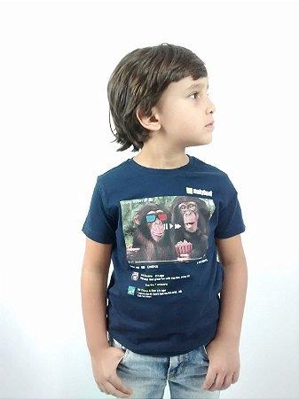Camiseta Infantil Importada Zara Boys Azul Marinho Monkey