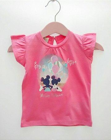 Blusa Bebê Rosa Importada Benetton Baby Disney Mickey Minnie