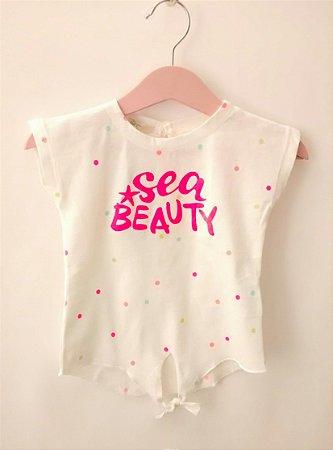 Blusa Infantil Bebê Branca Benetton Baby Sea Beauty