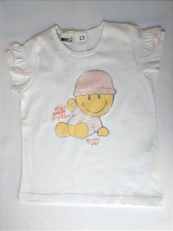 Blusa Feminina Importada Benetton Smiley Baby Branca