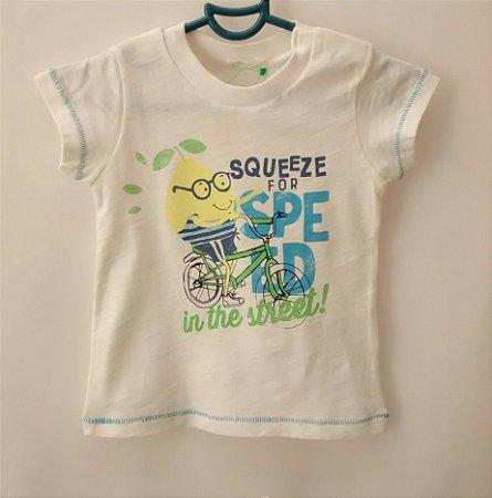 Camiseta Infantil Bebê Benetton Baby Boys Branca Bike Limão