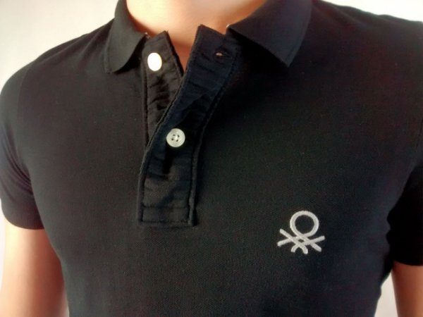 Camiseta Polo Masculina Importada Benetton Bordado Médio Muscle Fit