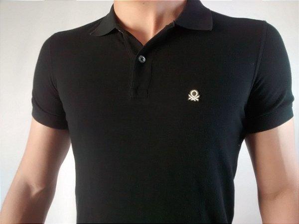 Camiseta Polo Masculina Importada Benetton Bordado Pequeno