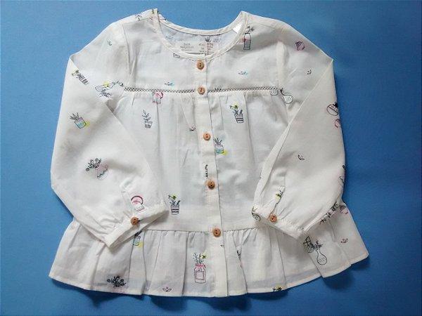 Blusa Infantil Zara Manga Longa Delicada Primavera