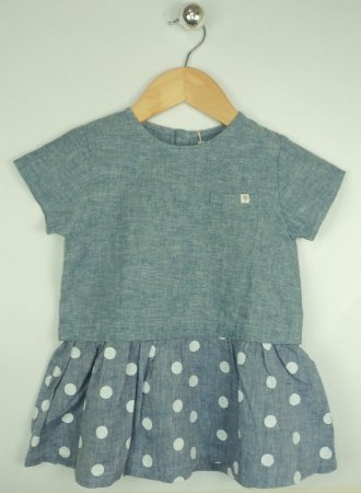 Vestido Infantil Jeans Bolinhas Zara