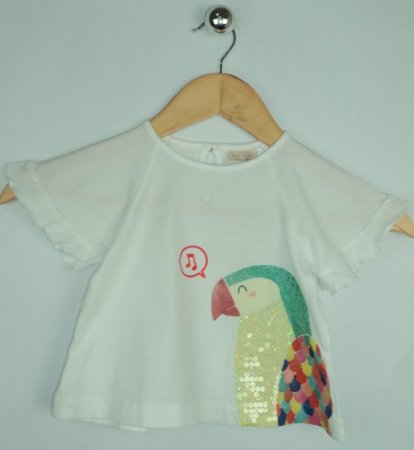 Blusa Infantil Branca Papagaio Zara