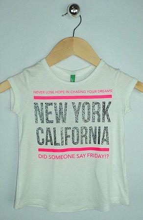 Blusa Infantil Branca New York Benetton