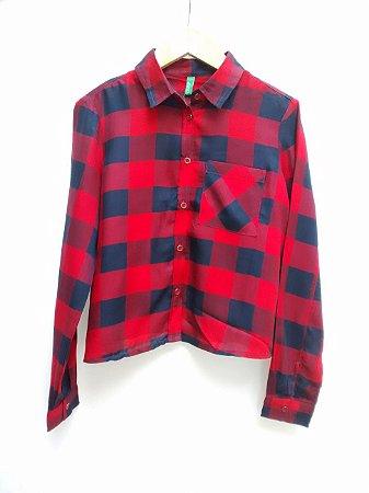 Camisa Infantil Xadrez Feminina Vermelha Benetton