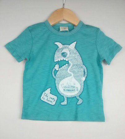 Camiseta Bebê Azul Monstrinho Zara