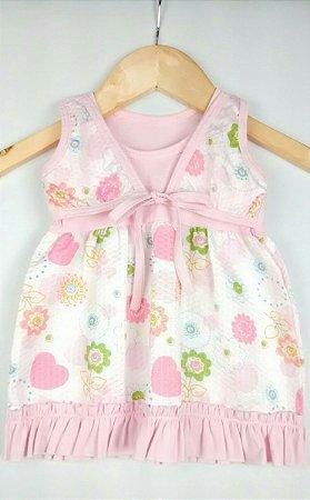 Vestido Bebê Rosa Flores Corações com Tiara