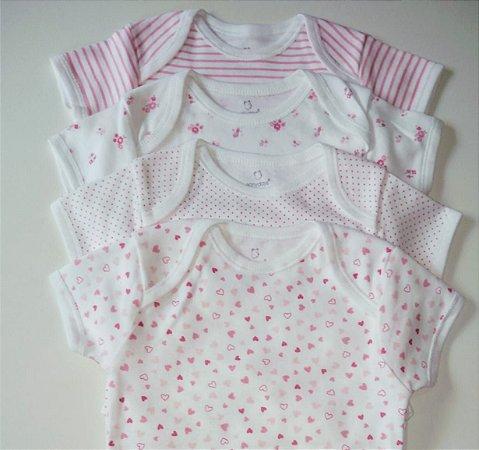 Kit Body Bebê Menina 6 a 9 Meses com 4 Peças