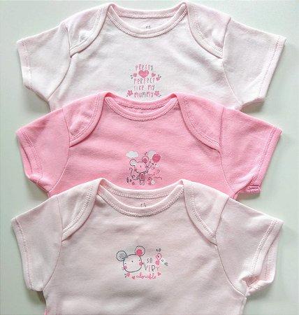 Kit Body Bebê Menina Manga Curta com 3 Peças Rosa 6 a 9 Meses