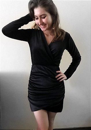 Vestido drapeado de veludo - Preto