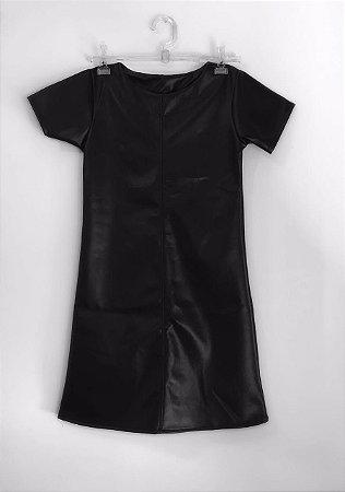 Vestido Preto em Couro Sintético